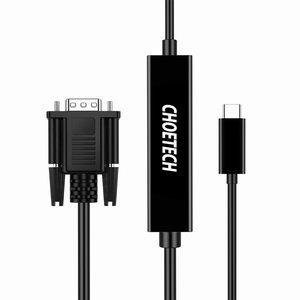 Choetech Choetech - USB Type-C naar VGA kabel - Resolutie tot 1080P - Kabellengte: 5 meter - Zwart