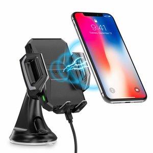Choetech Drahtloser Smartphone-Ladegeräthalter für das Auto - Montage am Armaturenbrett - 10 Watt - 360 Grad drehbar - LED-Anzeige - Inkl. USB-C-Kabel - Schwarz
