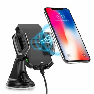 Choetech Wireless smartphone charger holder for in the car - Mount on the dashboard - 10 Watt - 360 degree rotatable - LED indicator - Incl. USB-C cable - Black
