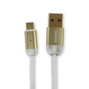 Lenovo USB Type-A naar Micro-USB data- en laadkabel 1 meter - 2A - Metalen/Kristallen omhulsel - LED-indicator – Wit / Goud