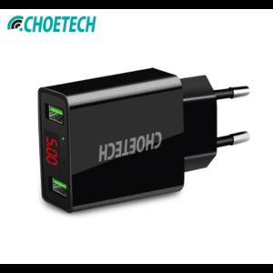 Choetech - Adaptateur double port avec 2 ports de charge USB de type A - Inclus un écran à LED - 3A - Indicateur LED - Noir