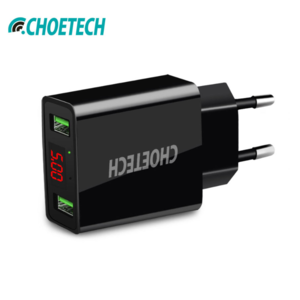 Choetech - Adapter mit zwei Anschlüssen und 2 USB-Ladestationen vom Typ A - Inklusive LED-Anzeige - 3A - LED-Anzeige - Schwarz
