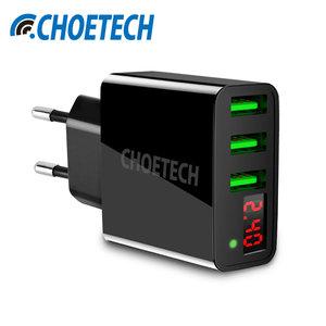 Choetech - Universele adapter / thuislader met 3 USB Type-A laadpoorten - Met LED-Display - 3A- Zwart