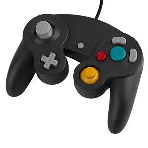 Manette câblée pour la GameCube et la Wii en noir