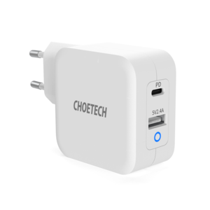 Choetech Adaptateur secteur double GaN USB-C / USB-A - Alimentation 65W
