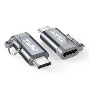 Choetech Micro USB naar USB-C adapter voor opladen en synchroniseren - Sleutelhanger - Grijs