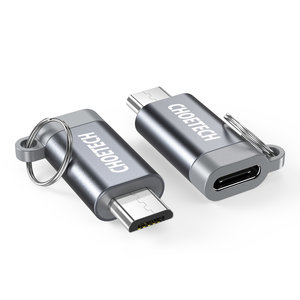 Choetech Micro USB to USB-C adapter for charging and synchronizing - Keychain - Gray