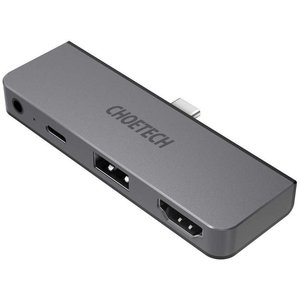 Choetech 4-in-1-USB-C-Hub an USB-C-PD, USB-A, HDMI und 3,5-mm-Audiobuchse anschließen - himmelgrau