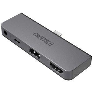 Choetech Connexion d'un concentrateur USB-C 4 en 1 à USB-C PD, USB-A, HDMI et prise audio 3,5 mm - gris ciel