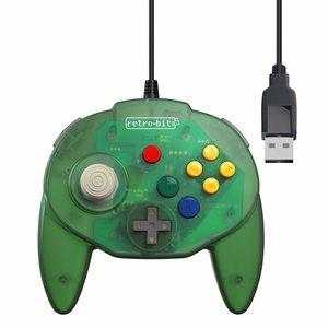 retro-bit Nintendo 64 Tribute Controller met USB-aansluiting voor PC - Green