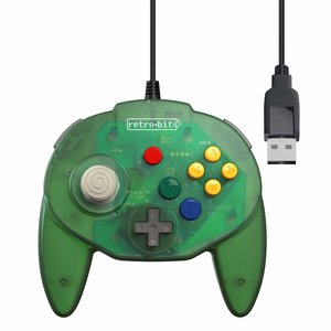retro-bit Nintendo 64 Tribute Controller with USB connection for PC - Green