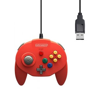 retro-bit Nintendo 64 Tribute Controller mit USB-Anschluss für PC - Rot