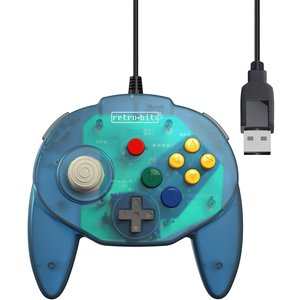 retro-bit Nintendo 64 Tribute Controller with USB connection for PC - Ocean Blue