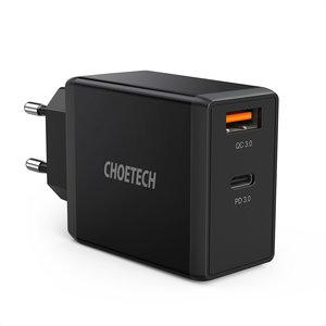 Choetech Adaptateur secteur double USB avec Quick Charge 3.0 et PD 3.0 - 36W