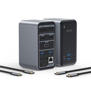 15-in-1-USB-C-Hub – USB-C, 100 W PD, 4K HDMI @60 Hz, VGA, USB 3.0, 3,5-mm-Buchse – Himmelgrau