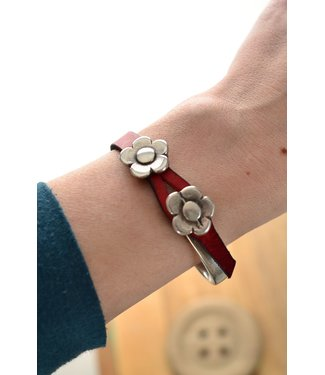 DEERO  Armband Flower Red