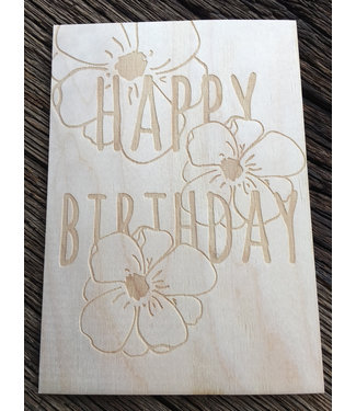 Beavers Woodland Houten Briefkaart - Happy Birthday