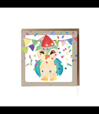 GRAFIQUELIEN •• Uil Verjaardagskaart Wenskaart