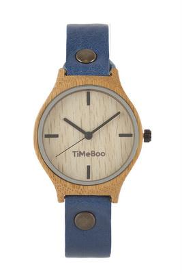 TimeBoo •• Dames Bamboe horloge Twist Single Jeans from De Groene Knoop