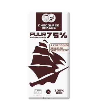 Chocolate Makers •• Tres Hombres 75% met gebrande cacao nibs