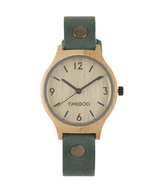 TimeBoo •• Bamboe Horloge Twist Single Forest Green