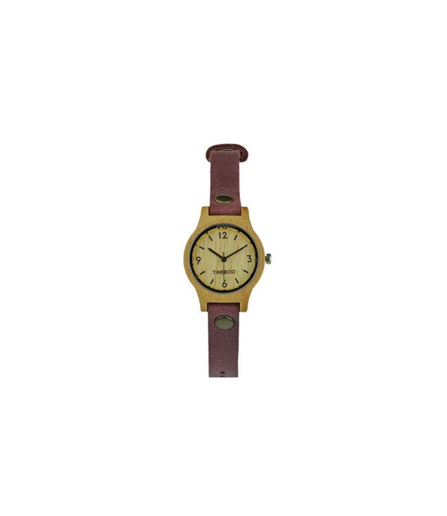 TimeBoo •• Bamboe Horloge Small Single Aubergine