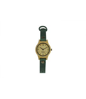TimeBoo •• Bamboe Horloge Small Single Forest Green