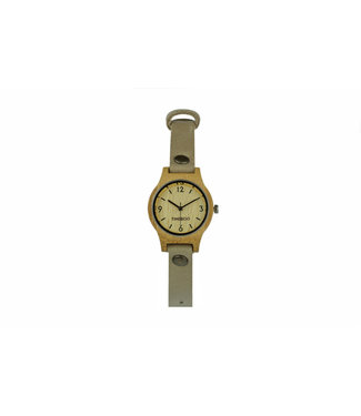 TimeBoo •• Bamboe Horloge Small Single Taupe