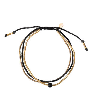 A BEAUTIFUL STORY •• Armband Bloom Zwarte Onyx Goud