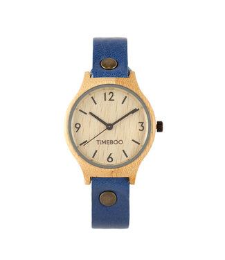TimeBoo •• Bamboe Horloge Twist Single Jeans