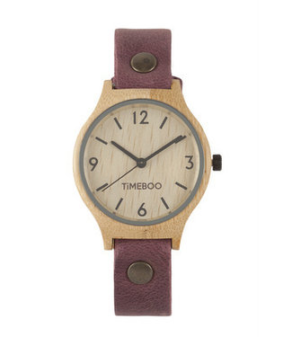 TimeBoo •• Bamboe Horloge Twist Single Aubergine