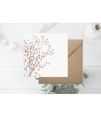 GRAFIQUELIEN ★ Kerstkaart met Rode Besjes - Box