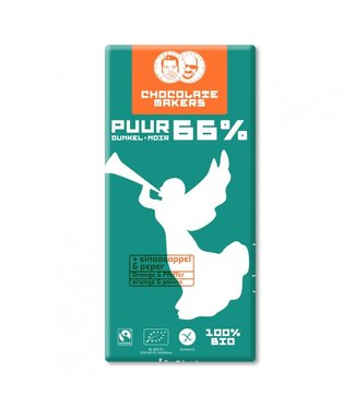 Chocolate Makers •• Bio Fairtrade Feestreep puur 66% sinaasappel & peper
