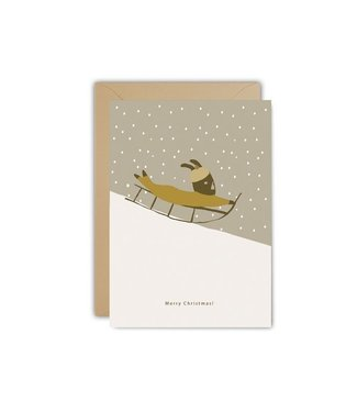 Ted and Tone ★ ECO KERSTKAART Christmas Sledge
