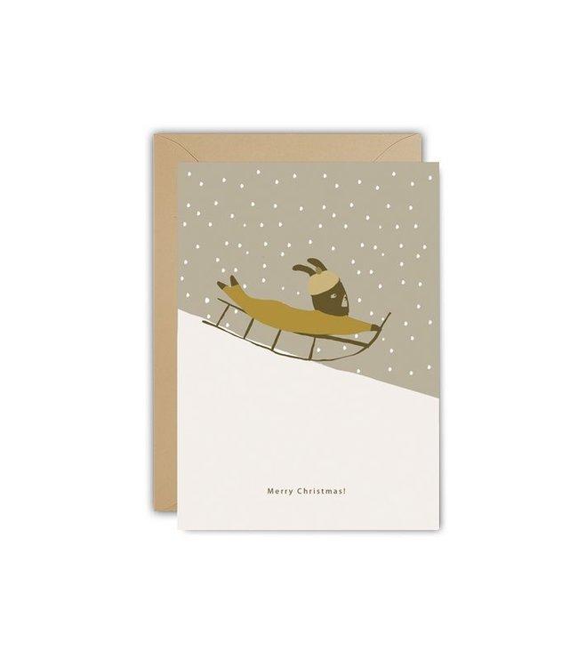 Ted and Tone ★ ECO KERSTKAART Christmas Sledge