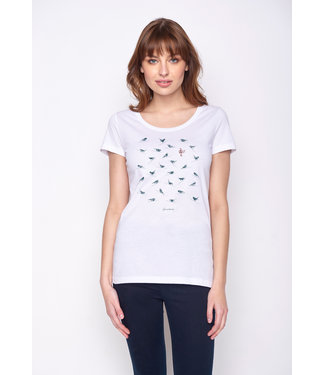 GREENBOMB •• T-shirt Animal Birds Sitting Loves White