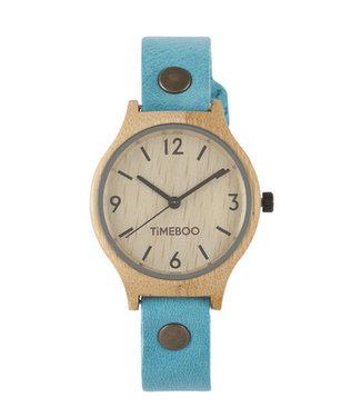 TimeBoo •• Bamboe Horloge Twist Single Aqua Blauw