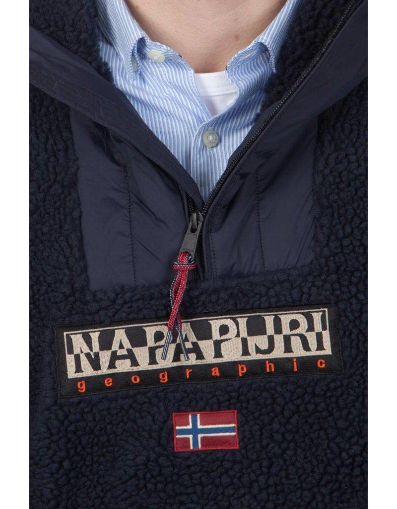 Napapijri ® Hoodie Sweatshirt Sherpa-Fleece, Dunkelblau