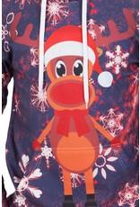 Rudy Land Weihnachtspullover Hoodie Blue Snow