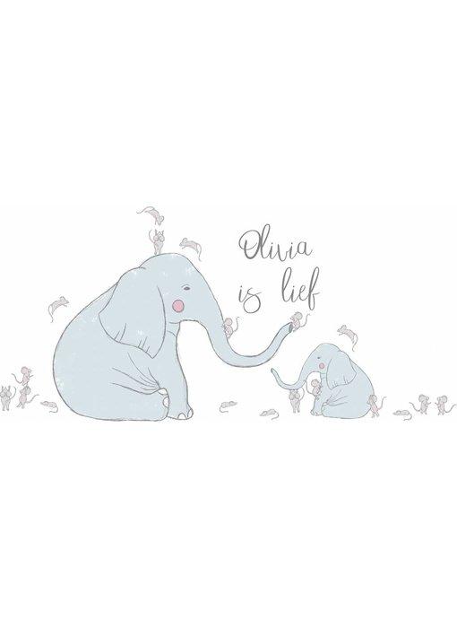 Olifant en muizen met naam sticker