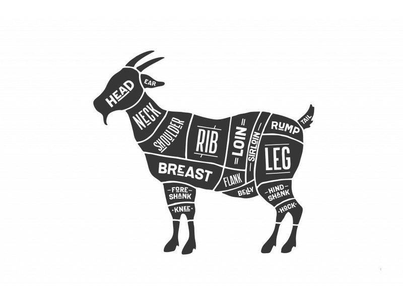 Sticker cuts of goat Slager geit