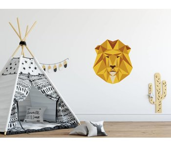 Origami veelhoekige leeuwenkop sticker