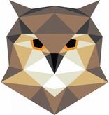 Origami veelhoekige uil muursticker