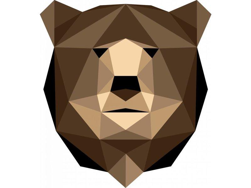 Origami veelhoekige beer muursticker
