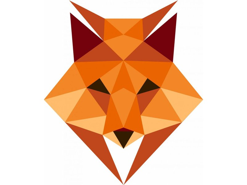 Origami veelhoekige vos sticker