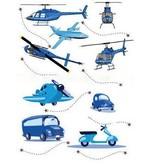Blauwe autos vliegtuig helicopter sticker
