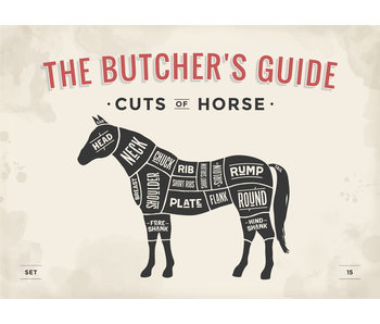 RoughMark Paard Sticker cuts of horse BBQ