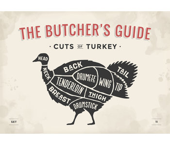 RoughMark Kalkoen Sticker cuts of turkey BBQ