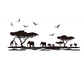 Muursticker Afrika silhouetten