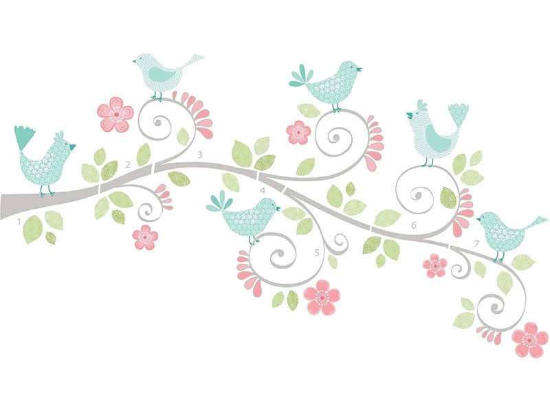 WallPops Pretty tweet sticker tak en vogels